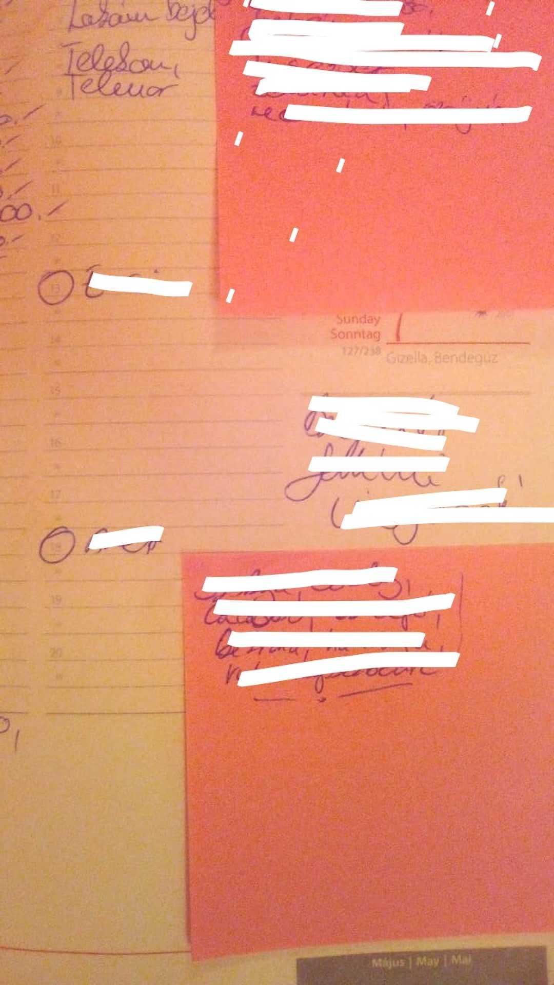 Csak a két bekarikázott időpont volt arra napra, mégis elvesztem a naplóm nélkül.
