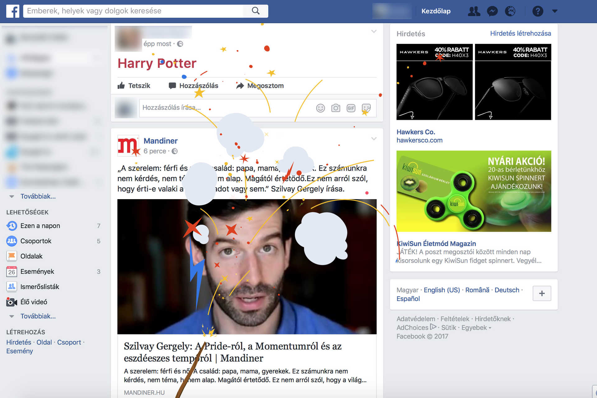 Harry Potter jubileum a Facebookon