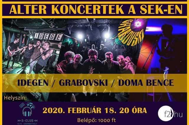 Alter koncertek az ELTE SEK-en: IDEGEN, Grabovski, Doma Bence