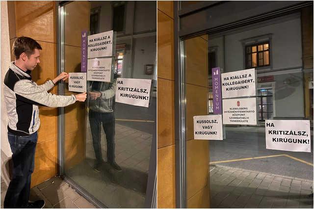 Az éj leple alatt akcióztak a momentumosok a szombathelyi zeneiskola ügyében