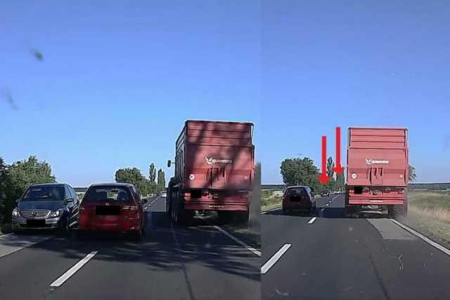 Egy hajszálon múlt a baleset: több járművet előzött a 84-esen, miközben folyamatosan jöttek szemből