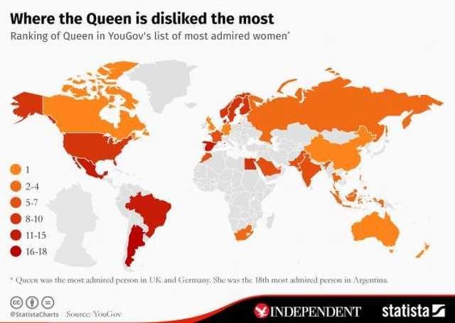 Térkép: itt kedvelik a legjobban II. Erzsébet brit királynőt