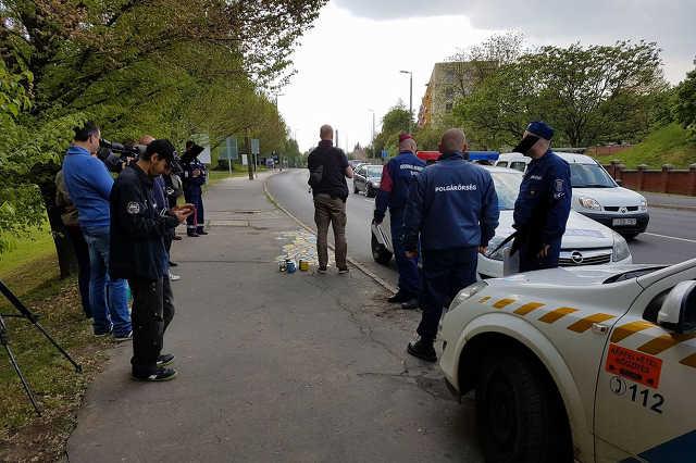Kaposváron festett járdát a Kétfarkú Kutya Párt, a rendőrök az újságírókat sem engedték el a helyszínről