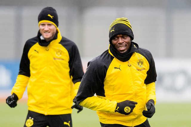 Usain Bolt a Dortmund edzésén