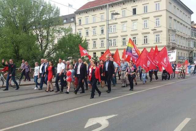 Május 1-i felvonulás Ausztriában