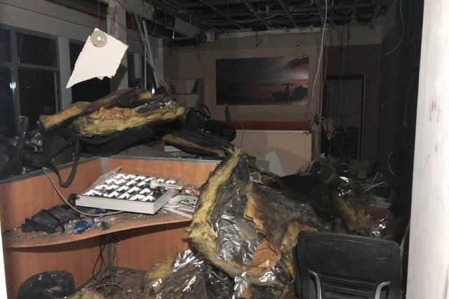 Az ATV egyik stúdiója a tűz után