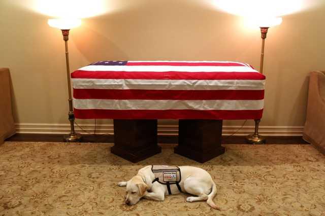 Kutyája is elbúcsúzott George H. W. Bush volt amerikai elnöktől