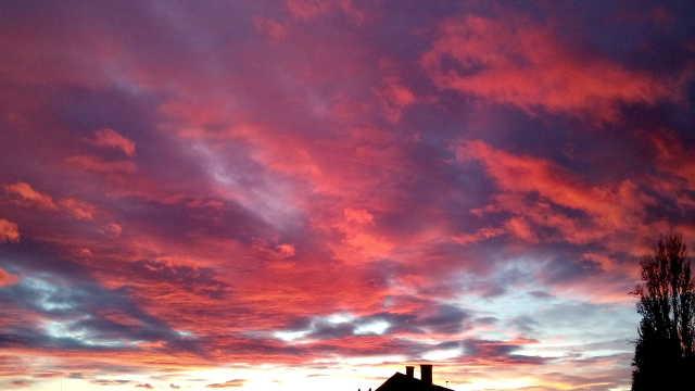 Lángoló napnyugta 12.11-én Szombathelyen