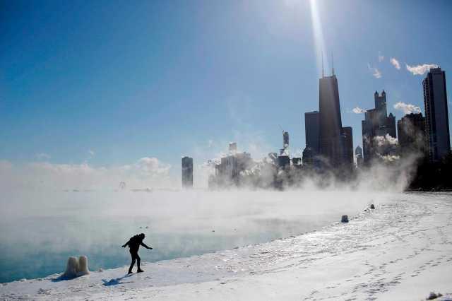 Így gőzölög a Michigan-tó a -29 fokban.