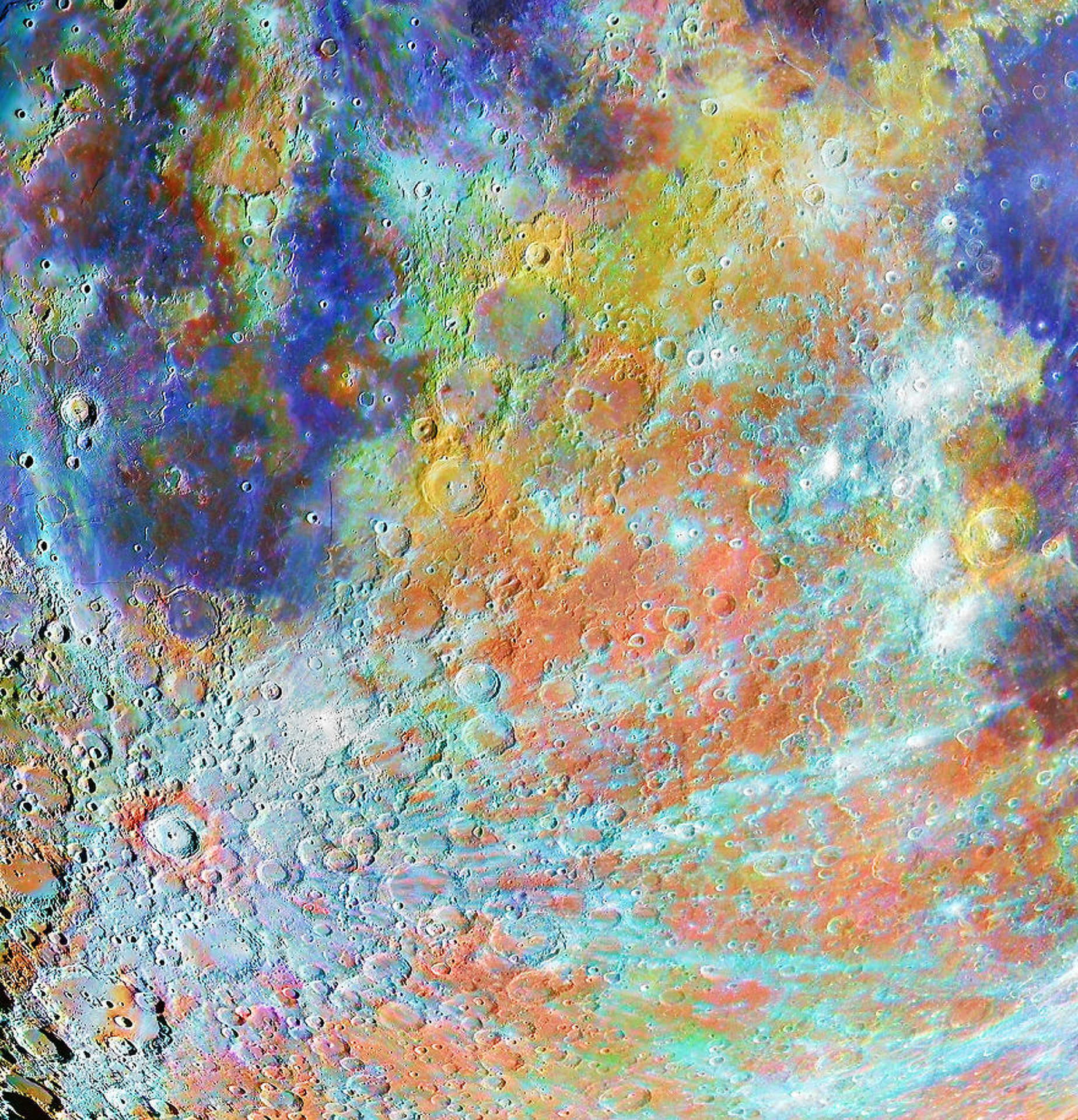 Alain Paillou - Tycho Crater Region With Colours